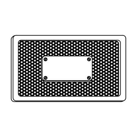 perforated: silhouette rectangle frame metallic with grill perforated and plaque vector illustration