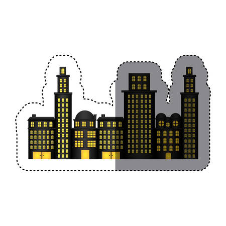 sticker urban cityscape and residential apartments vector illustration