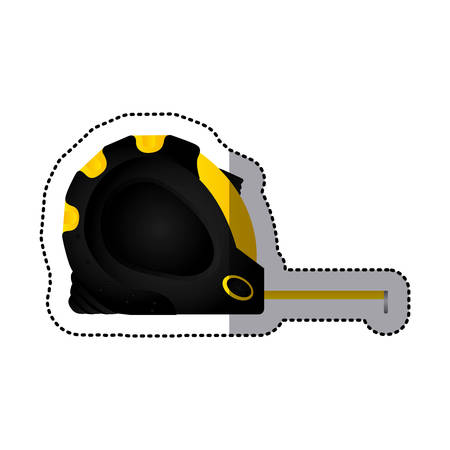 sticker tape measure icon tool with black body vector illustration