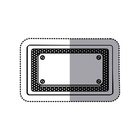 sticker silhouette grille perforated frame with plate and screws vector illustration