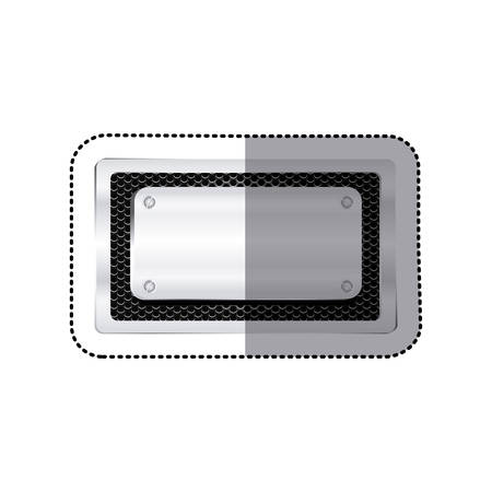 perforated: sticker rectangle grille perforated frame with metal plate and screws vector illustration