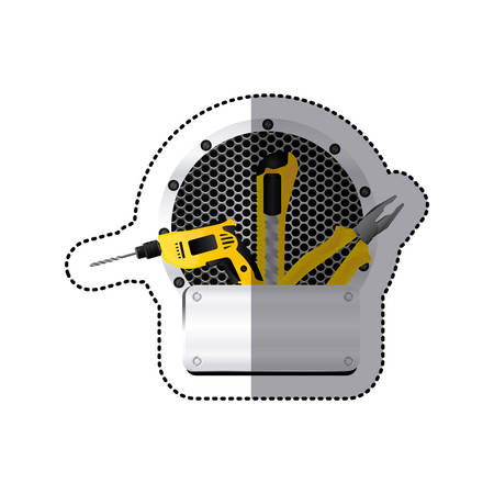 perforated: sticker grille perforated circular frame with metal plate and tools vector illustration
