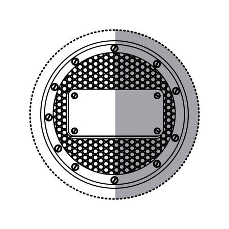 sticker silhouette circular metallic frame with grill perforated and plaque with screws vector illustration Illustration
