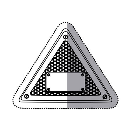 sticker silhouette triangle metallic frame with grill perforated and plaque with screws vector illustration Illustration