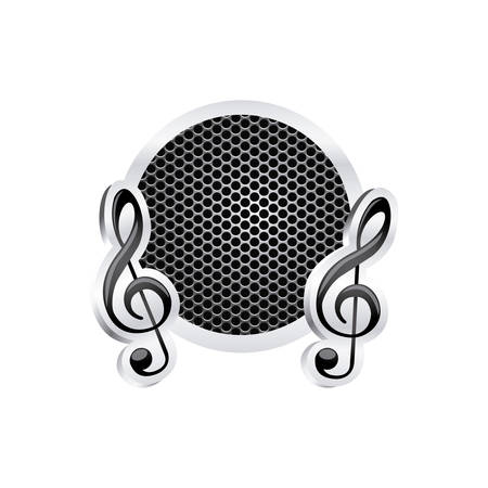 semiquaver: sign music treble clef icon relief with metallic frame with grill perforated vector illustration