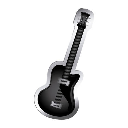 bass relief: electric musical guitar icon relief vector illustration