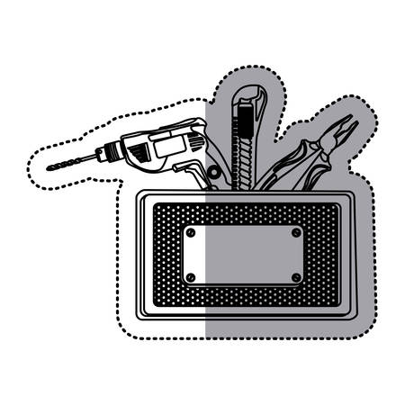sticker silhouette rectangle metallic frame with grille perforated and tools vector illustration Illustration