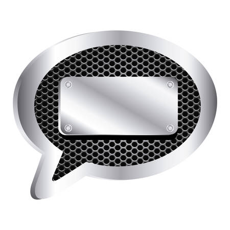 dialog callout with metallic frame grill perforated and plaque icon relief vector illustration Illustration