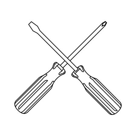 silhouette set collection screwdriver icon tools vector illustration