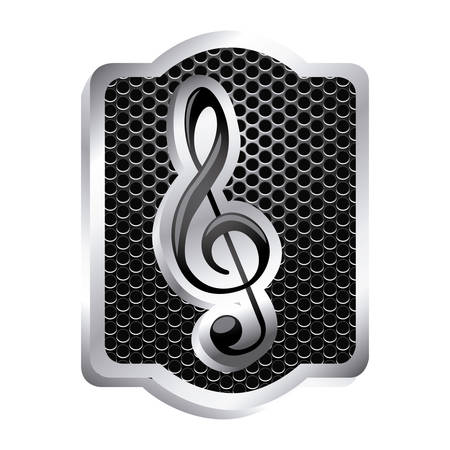 perforated: heraldic frame with grill surface and sign music treble clef icon relief vector illustration Illustration