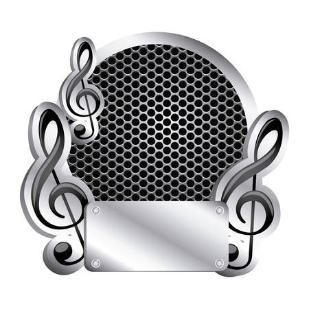 circular metallic frame with grill perforated and musical notes vector illustration Illustration