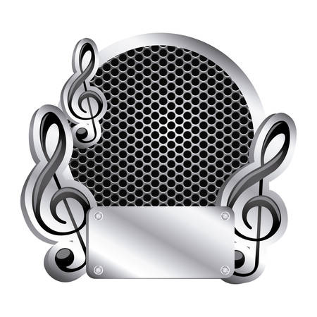 circular metallic frame with grill perforated and musical notes icon relief vector illustration Illustration