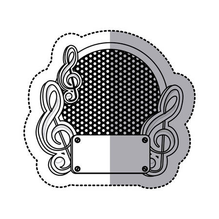 emblem music plaque icon image, vector illustration Illustration
