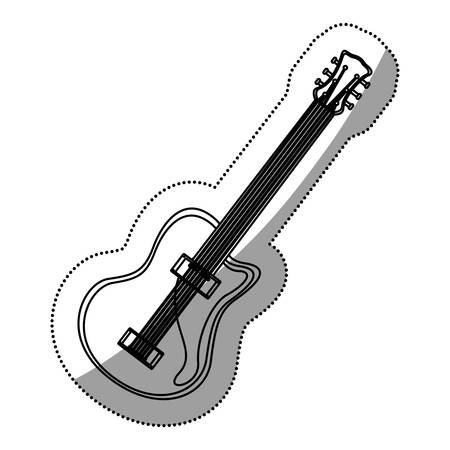 monochrome contour silhouette with electric guitar vector illustration Illustration