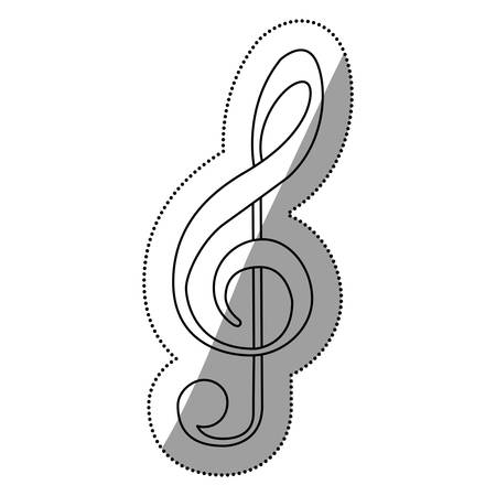 rapping: monochrome contour silhouette with sign music treble clef vector illustration Illustration