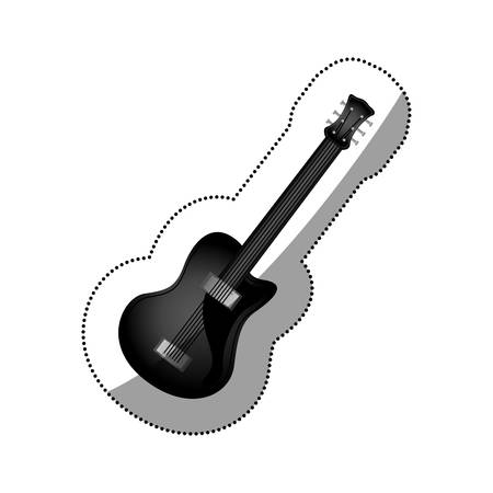 sticker monochrome silhouette with electric guitar vector illustration Illustration