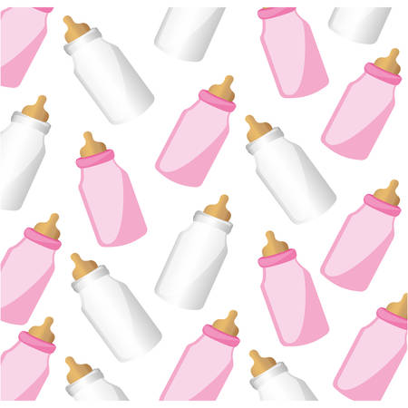 suck: color silhouette pattern baby bottles with suck vector illustration Illustration