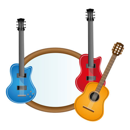 solo: colorful silhouette with guitars set electric and acoustic vector illustration