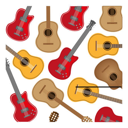colorful background with electric guitars set vector illustration Illustration