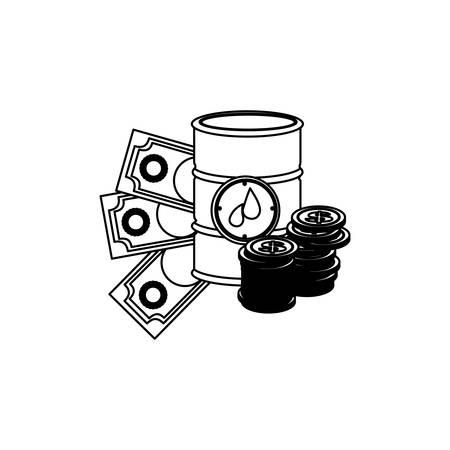 monochrome contour with barrel petroleum and money vector illustration Illustration