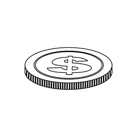 horizontal position: monochrome contour with icon coin in horizontal position vector illustration