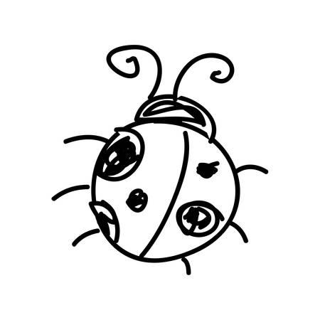 contorno monocromático con ilustración de vector de insecto de mariquita de bosquejo