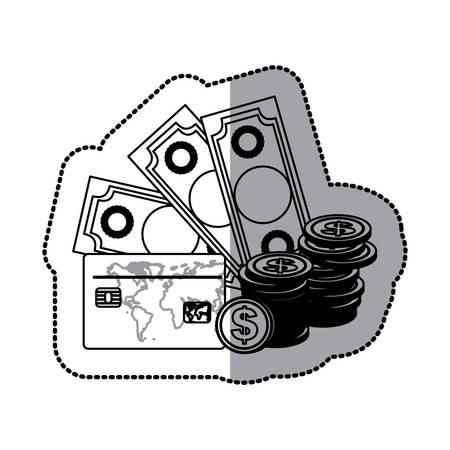 bills, coin and cash icon stock, vector illustration design
