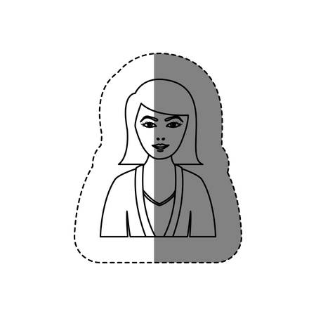 monochrome contour sticker with half body woman with jacket and short hair without face vector illustration Illustration