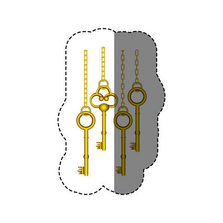 latchkey: sticker pattern with vintage golden keys hanging on chains vector illustration