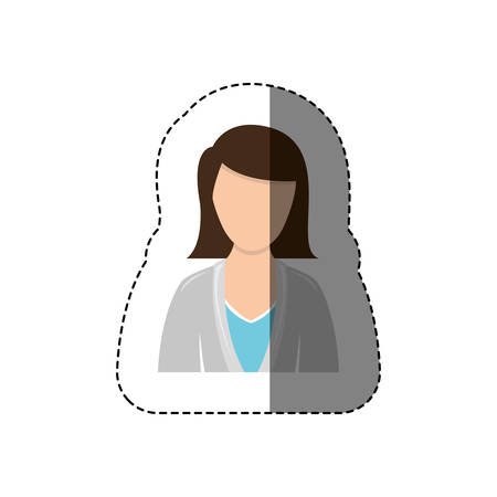 color sticker half body woman with jacket and short hair without face vector illustration