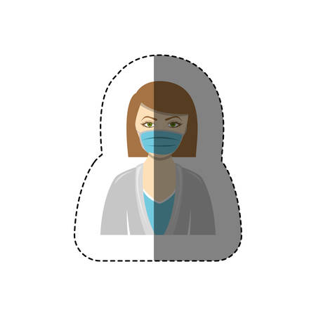color sticker with half body of nurse with mouth cap vector illustration