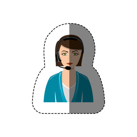 handsfree telephone: color sticker with half body of female customer service vector illustration