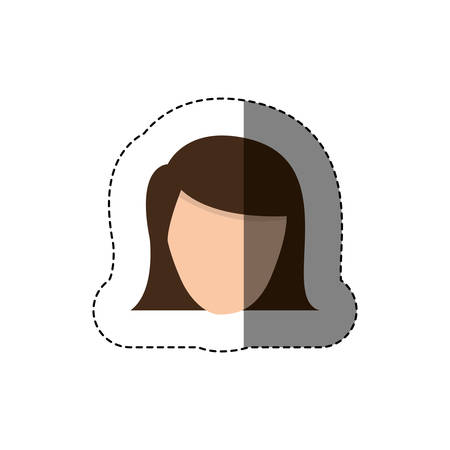 color sticker with head of woman with short hair without face vector illustration