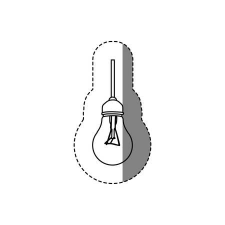 silhouette contour: monochrome contour sticker with silhouette of bulb light vector illustration