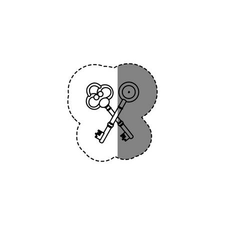 monochrome contour sticker with silhouette of crossed vintage keys vector illustration Illustration