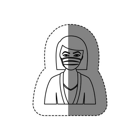 monochrome contour sticker with half body of nurse with mouth cap vector illustration