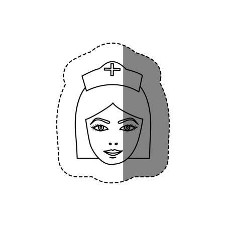 scrubs: monochrome contour sticker with head of female nurse vector illustration
