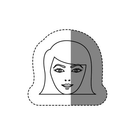 monochrome contour sticker with head of woman with short hair vector illustration
