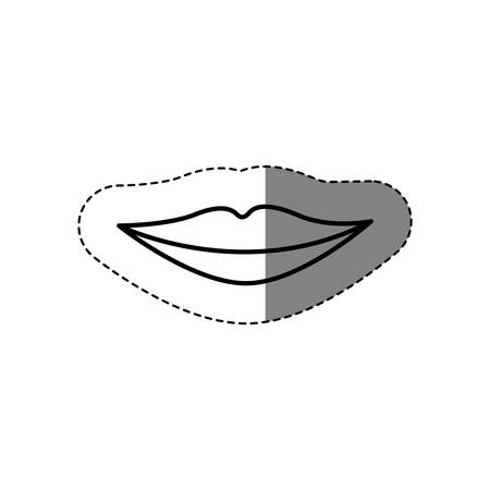 monochrome contour sticker with female mouth vector illustration Illustration