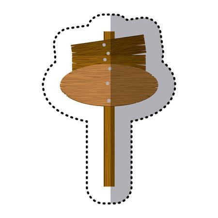 wooden post: sticker set collection shape wooden board sign vector illustration