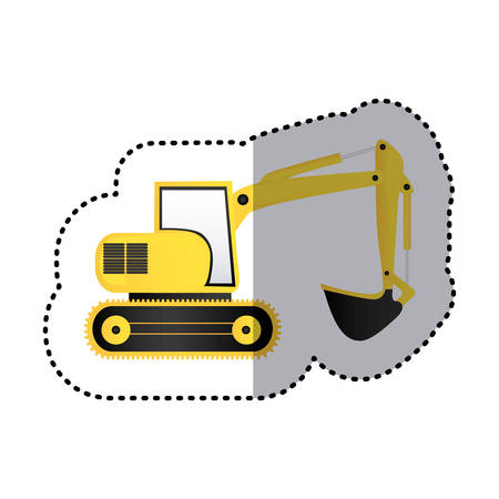 sticker yellow backhoe with crane for construction vector illustration