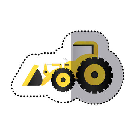 excavation: sticker colorful tractor loader building machine vector illustration
