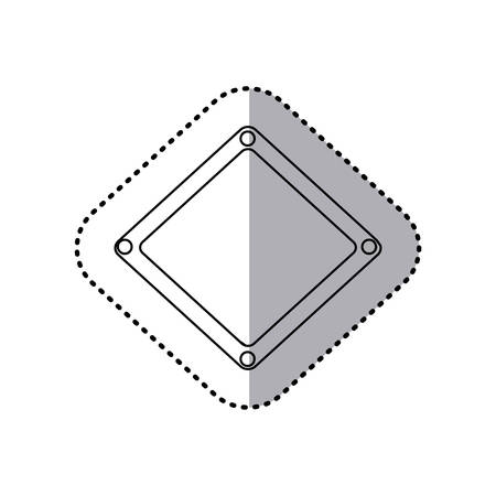sticker contour diamond metallic frame with grill perforated vector illustration