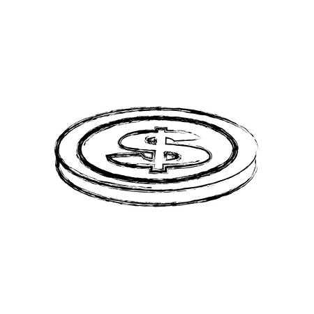 horizontal position: blurred silhouette coin in horizontal position vector illustration