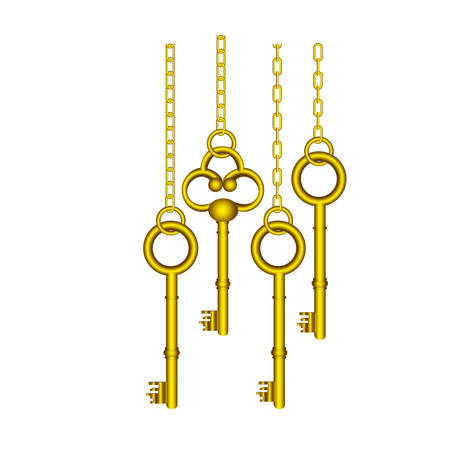 gold old keys hanging icon , vector illustration image design Illustration