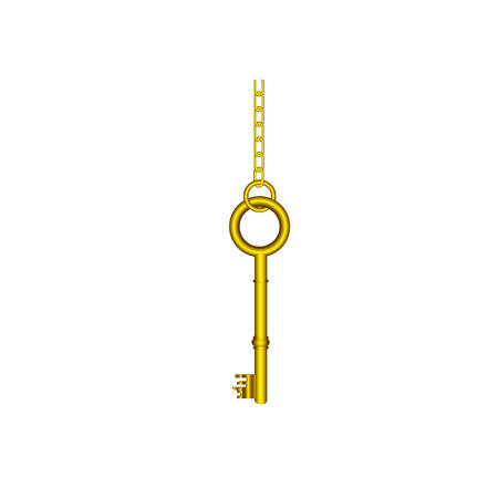 latchkey: gold old key hanging icon, vector illustration image design
