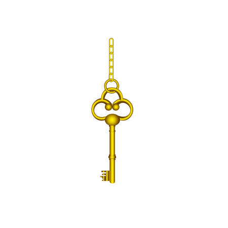 gold old key hanging icon, vector illustration image design