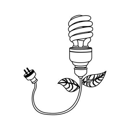 figure bulb eco cable icon image, vector illustration design