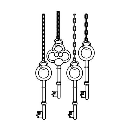 latchkey: figure old keys hanging icon , vector illustration image design