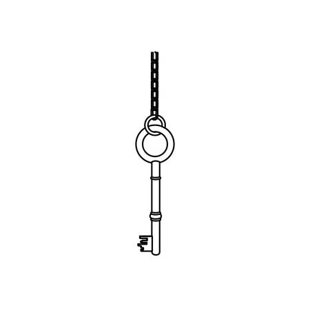 figure old key hanging icon, vector illustration image design Illustration